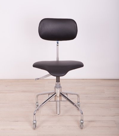 Leather & Chrome Mid Century Office Chair from Velo, 1960s