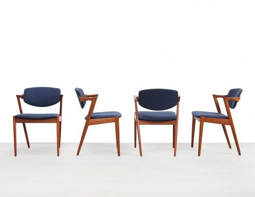 Set of 4 Model 42 dining chairs by Kai Kristiansen for Schou Andersen Møbelfabrik, 1960s