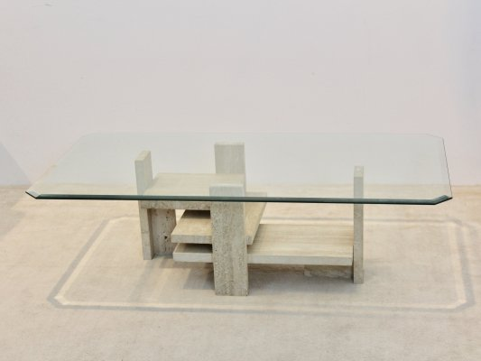 Sculptural Willy Ballez Travertine & Glass Cubist Coffee table