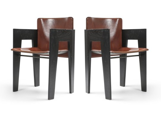 Black Oak & Brown Leather Chairs by Arco, 1980's