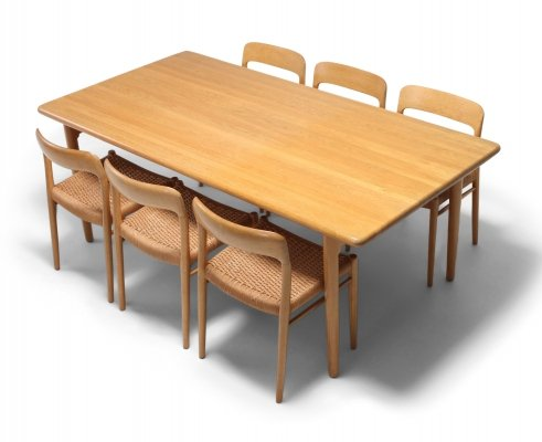 Scandinavian Modern Dining set in Oak by N.O. Möller for J.L. Moller, 1970s