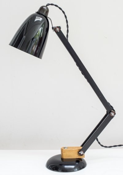 Rare Mac Lamp Covered With Its Original Black Vinyl over Wooden Arms