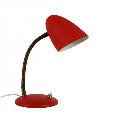 Small desk light with red shrink paint, 1950s