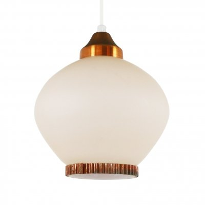 Glass & copper pendant lamp, 1940s