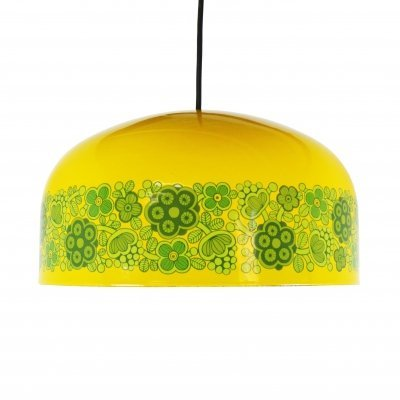 Enameled yellow 'Maaret' pendant by Kaj Franck for Fog & Mørup / Arabia, 1970's