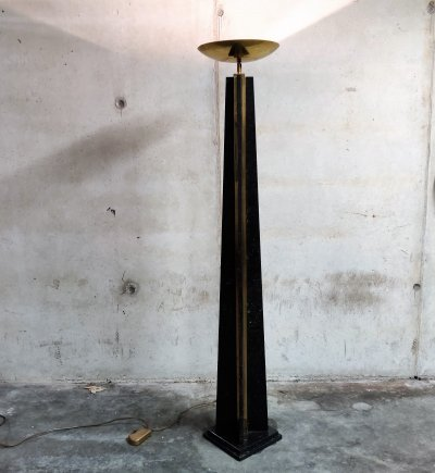 Large marble torchiere floor lamp, 1980s