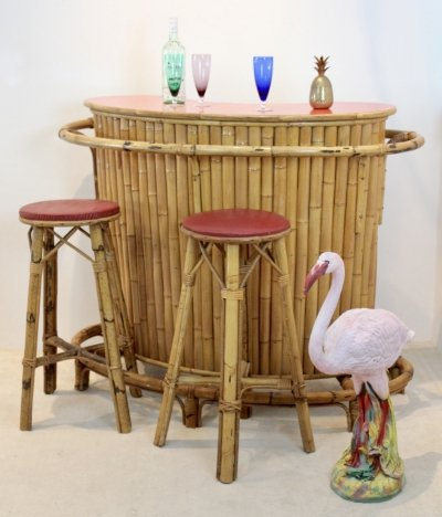 Chic & Versatile French Mid-Century Rattan & Bamboo Tiki Bar with Stools