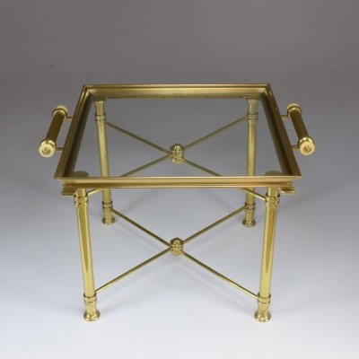 French Vintage Brass Side Table & Platter by Maison Baguès, 1980s