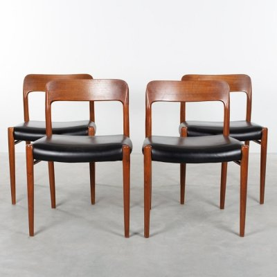 Set of 4 Model 75 dining chairs by Niels Otto Møller for JL Møllers Møbelfabrik, 1970s