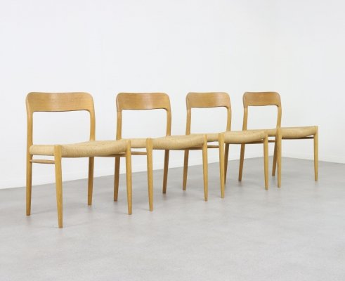 Set of 4 Model 75 dining chairs by Niels Otto Møller for JL Møllers Møbelfabrik, 1960s