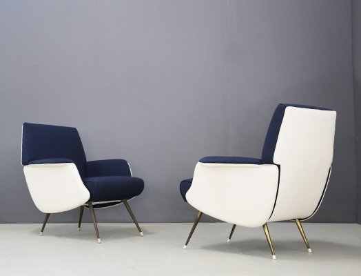 Pair of MidCentury chair by Giuseppe Rossi for Albizzate Varese, Published 1956