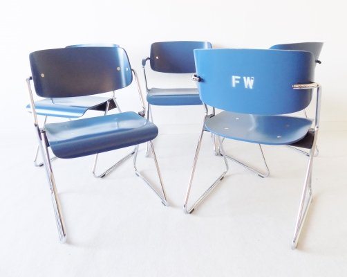 Set of 5 stackable chairs from a fire department by Georg Leowald for Wilkhahn, 1960s