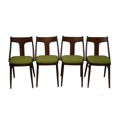 Set of 4 wooden chairs with green upholstery