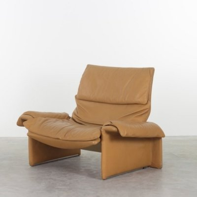 Giovanni Offredi for Saporiti lounge chair in orginal leather, 1970s