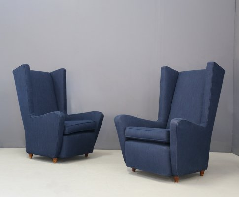 Pair of MidCentury Armchairs by Paolo Buffa in cotton linen fabric, 1950s