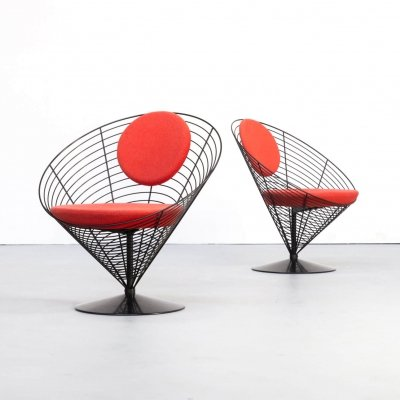Pair of Verner Panton cone chairs for Fritz Hansen, 1980s
