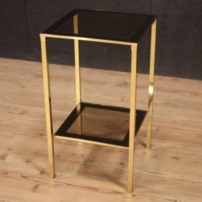 20th Century Gold Metal & Glass Italian Design Side Table, 1970