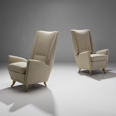 Pair of ISA Bergamo Lounge Chairs, Italy 1950s