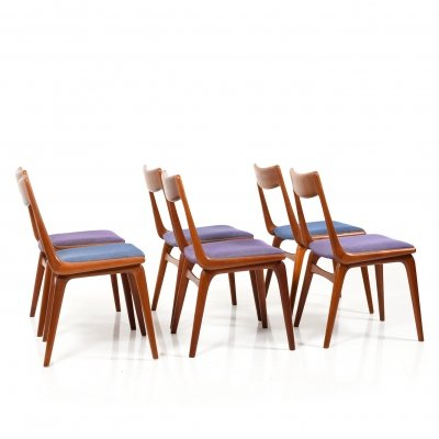 Early set of 6 Boomerang Teak Chairs by Alfred Christensen