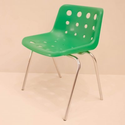 Set of 4 Green Polo chairs by Robin Day for Hille, 70s