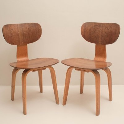 Pair of Beech Wood SB02 Side Chairs by Cees Braakman for Pastoe, 1950s