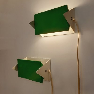 Pair of model 7013 wall lamps by J. Hoogervorst for Anvia Almelo, 1950s