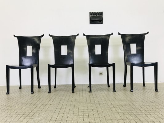 Set of 4 French oriental style dining chairs, 1960s