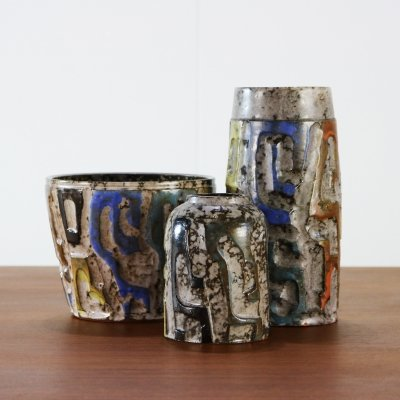 Three chamotte earthware vases by Piet Kurstjens