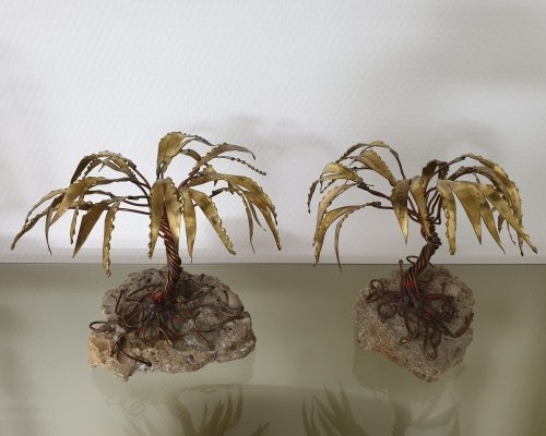 Pair of brass palm tree sculptures by Daniel d'Haeseleer