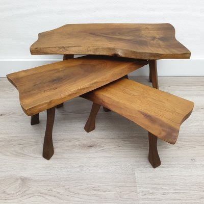 Set of vintage Scandinavian oak tree trunk nesting tables