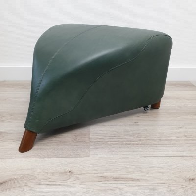 Green leather 'Excalibur' ottoman by Jan Armgardt for Leolux, 1990s