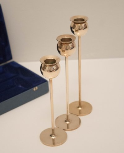 Set of 3 Brass Tulip Candle Holders by Pierre Forssell for Skultuna, 1970s