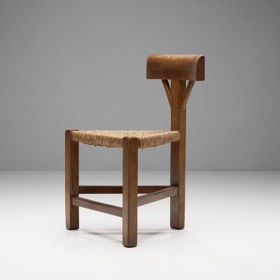 Triangular Chair in Oak & Cane, The Netherlands ca 1960s - 1970s