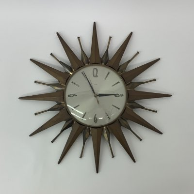 Vintage Metamec sunburst clock, 1960's