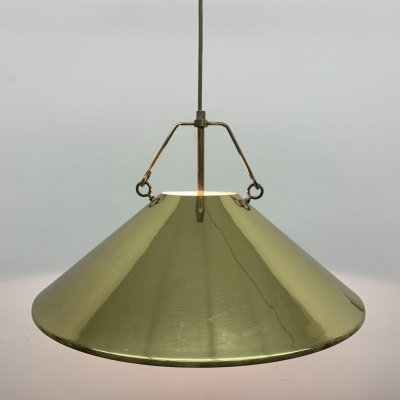 Vintage golden hanging lamp with brass details, 1970's