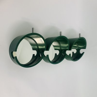 Set of 3 space age green coat hangers / mirrors, 1970's