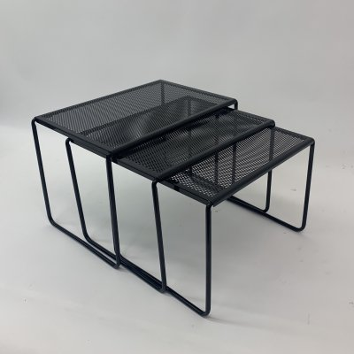 Set of perforated nesting tables, 1980's