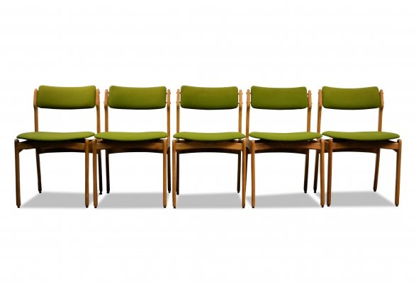 Set of 6 Vintage Danish Erik Buch oak dining chairs, 1960s