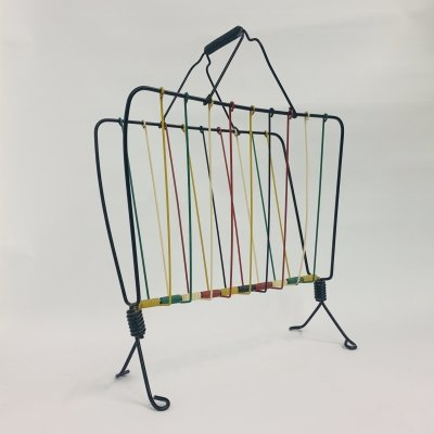 Vintage wire metal magazine rack, 1950's
