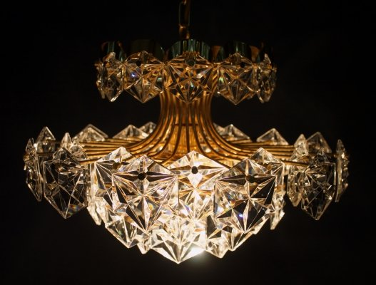 Gilt Brass & Crystal Glass Chandelier by Kinkeldey, Germany 1970s