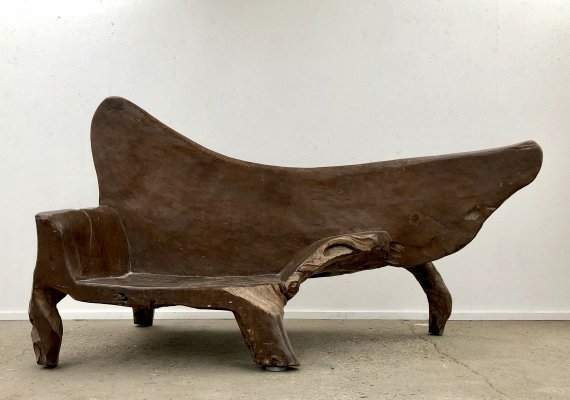 Unique teak brutalist sculpture / bench, 1970s