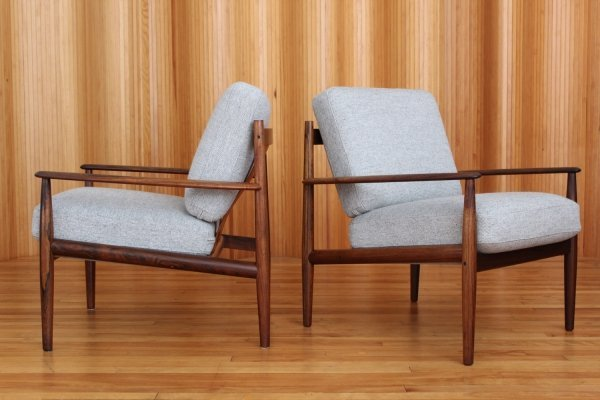 Pair of Grete Jalk model 128 rosewood lounge chairs by France & Son Denmark