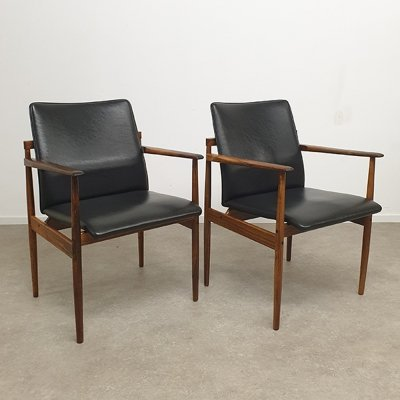 Pair of Rosewood Thereca chair's with Skai leather, 1960s
