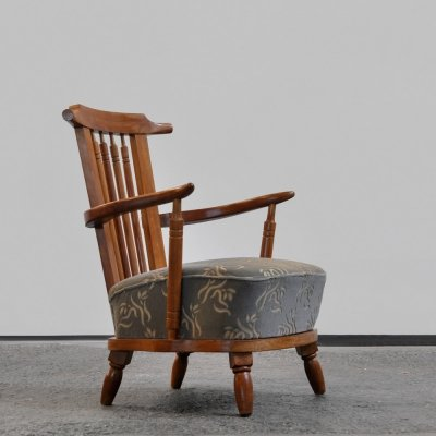 Elegant 1950s easy chair with mahogany frame & original upholstered seating