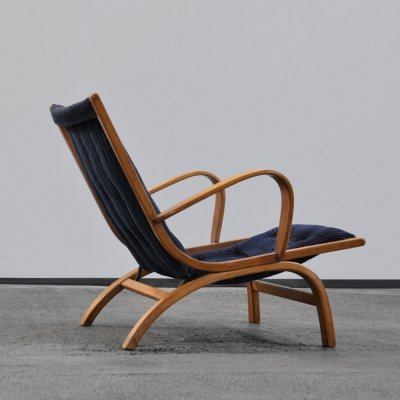 1950s lounge chair with bentwood beech frame & blue corduroy seating