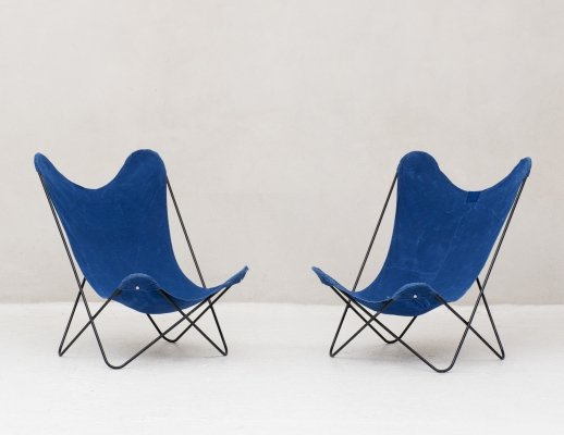 Set of 2 AA Butterfly lounge chairs by Airborne, France 1960