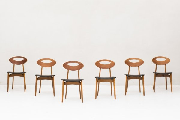 6 dining chairs by Roger Landault for Maison Sentou, France 1960