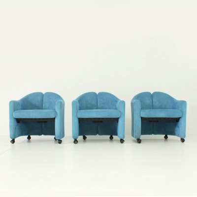 PS142 Armchairs by Eugenio Gerli in Blue Nubuck Leather