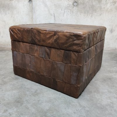 Vintage patchwork leather ottoman with storage, 1970s