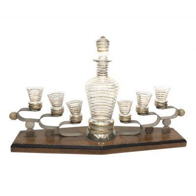 Art Deco Glass & Wood Italian Liquor set on Stand, circa 1930